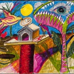Birdhouse, etc._ colored markers_ 14 x 17 inches