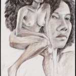 Figure and Head 2, Derwent pencil on archival paper, 24 x 19