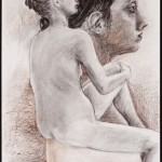 Figure and Head, Derwent pencil on archival paper, 24 x 19 i