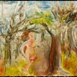 Figure in Woods, oil stick on gessoed paper, 22 x 30 inches