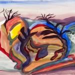 Imaginary Landscape, gouache on bristol vellum, 14 x 17 inch