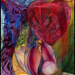 Lotus-Heart, oil on gessoed paper, 30 x 22 inches