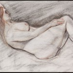 Reclining Nude, conte and charcoal on archival paper, 18 x 2