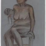 Seated Figure 2 Derwent pencil on painted archival bristol