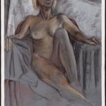 Seated Figure, Derwent pencil on painted archival bristol ve