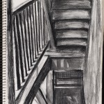 Sketchbook, stairwell, charcoal