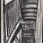 Sketchbook, stairwell, charcoal