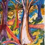 Trees,  marker on bristol vellum, 11 x 7 inches_